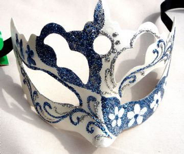 Genuine Venetian Blue feathered glittered petite  Mask
